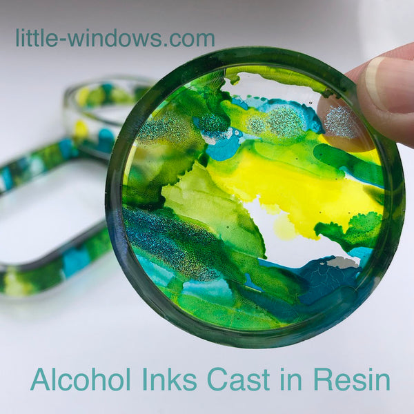 resin casting little windows alcohol inks jewelry suncatcher
