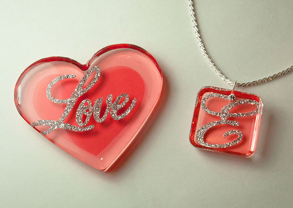 resin jewelry color film glitter heart necklace