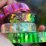 resin jewelry cast bangle bracelets with embossed dichro films