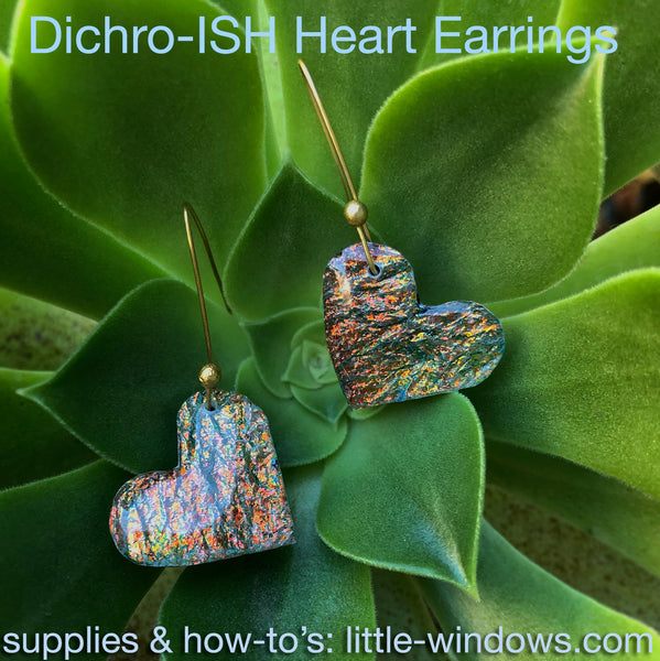 resin jewelry making dichroish texture film heart earrings plant