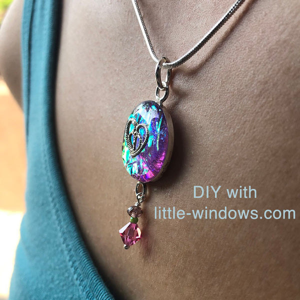 resin jewelry making DIY kit epoxy photo bezel necklace