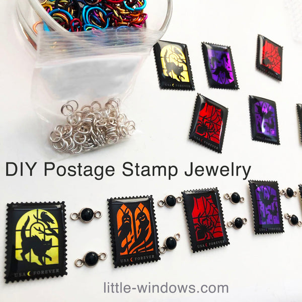 resin jewelry making postage stamps charm bracelet halloween
