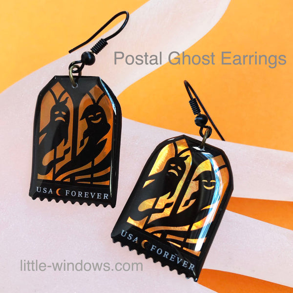 resin jewelry making postage stamps earrings halloween ghost