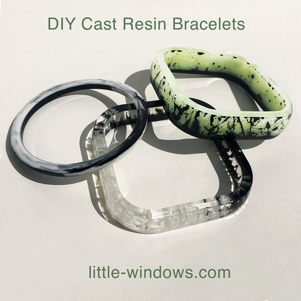 resin casting bangle bracelets black and white glow in the dark