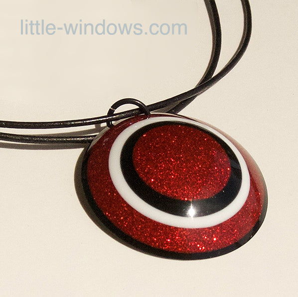 Resin cabochon necklace jewelry red glitter shield hero