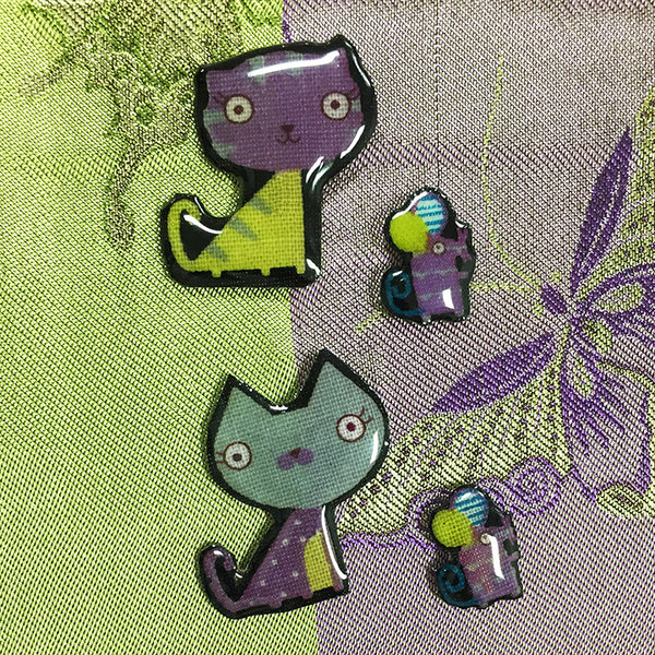 cats mice resin buttons fabric photos