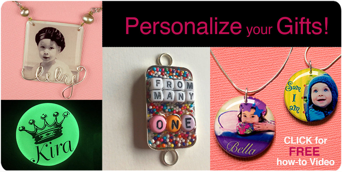 Resin jewelry customized with names, initials, text personalize gifts