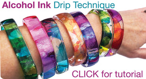 DIY Brilliant Resin Bangle Bracelets Cast with Alcohol Inks, Clear Photo Film, Double-Sided Silicone Molds