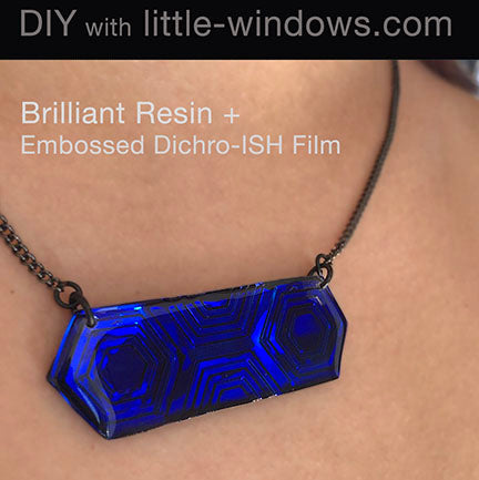 resin jewelry doming necklace embossed dichro film blue hex bar