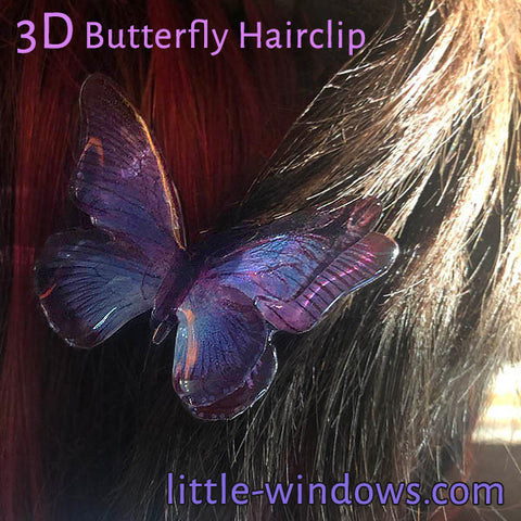 resin doming 3d butterfly jewelry hair clip purple