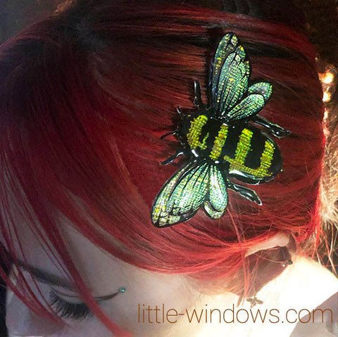 resin jewelry making domed bumble bee texture film hair clip