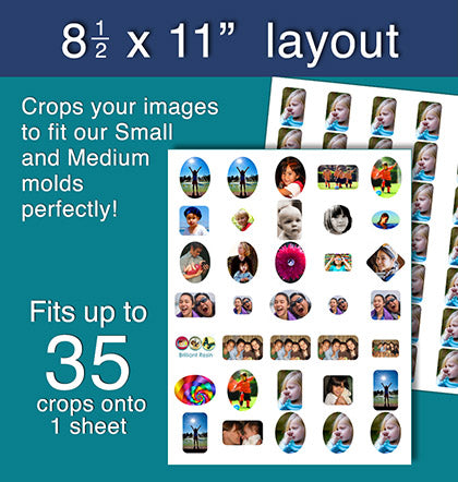 photo cropping software fits resin molds 8-1/2 x 11