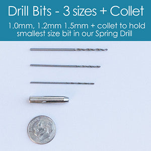 Replacement Drill Bits - 3 Sizes + Collet