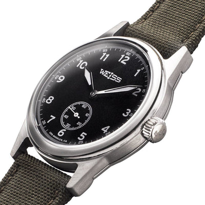 Weiss 38mm Standard Issue Field Watch | Black Dial on Olive Cordura