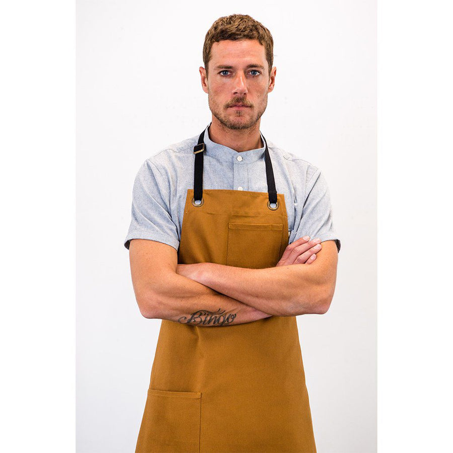 WS REGGIE BIB APRON, TAN DUCK CANVAS