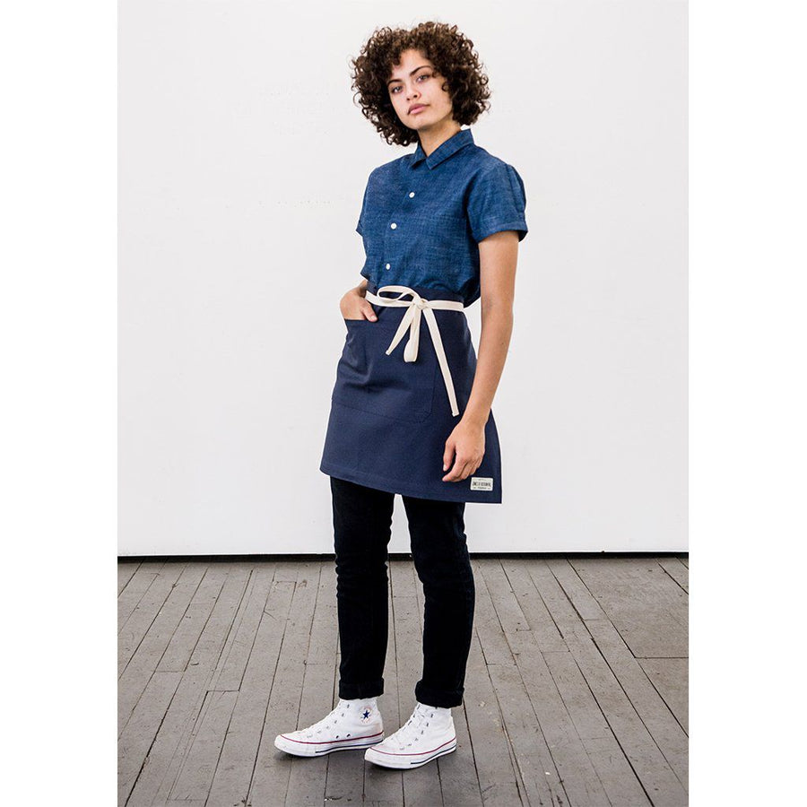 WS REGGIE HALF APRON, NAVY DUCK CANVAS