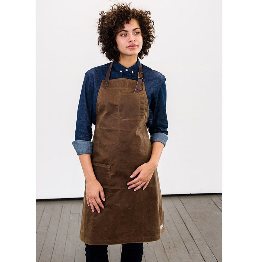 WS BOND ST. BIB APRON, BROWN WAXED CANVAS