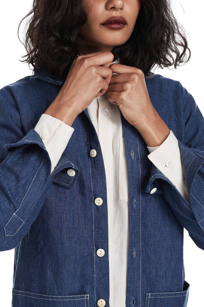 Shirt Jacket in Indigo