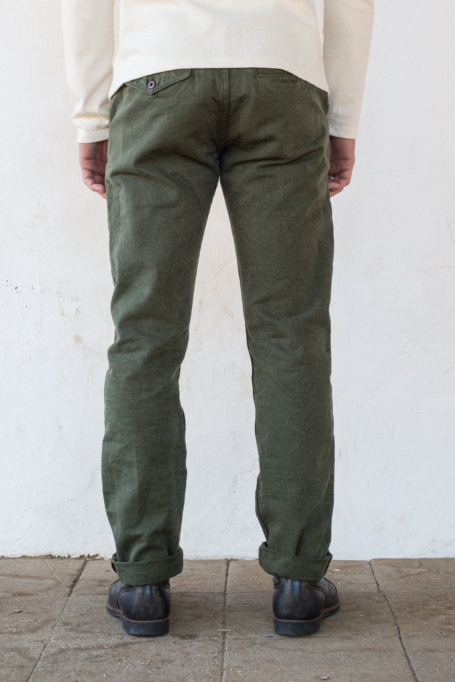 Workers Chino Slim Fit  14 Ounce Slub Army Green