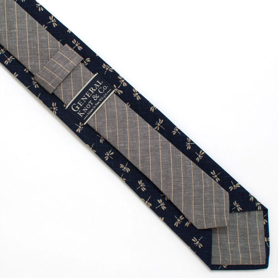 Japanese Dragonfly & Indigo Necktie- Available to ship 9/14