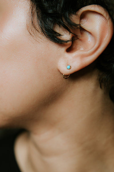 Opal Ear Hugger Hoops