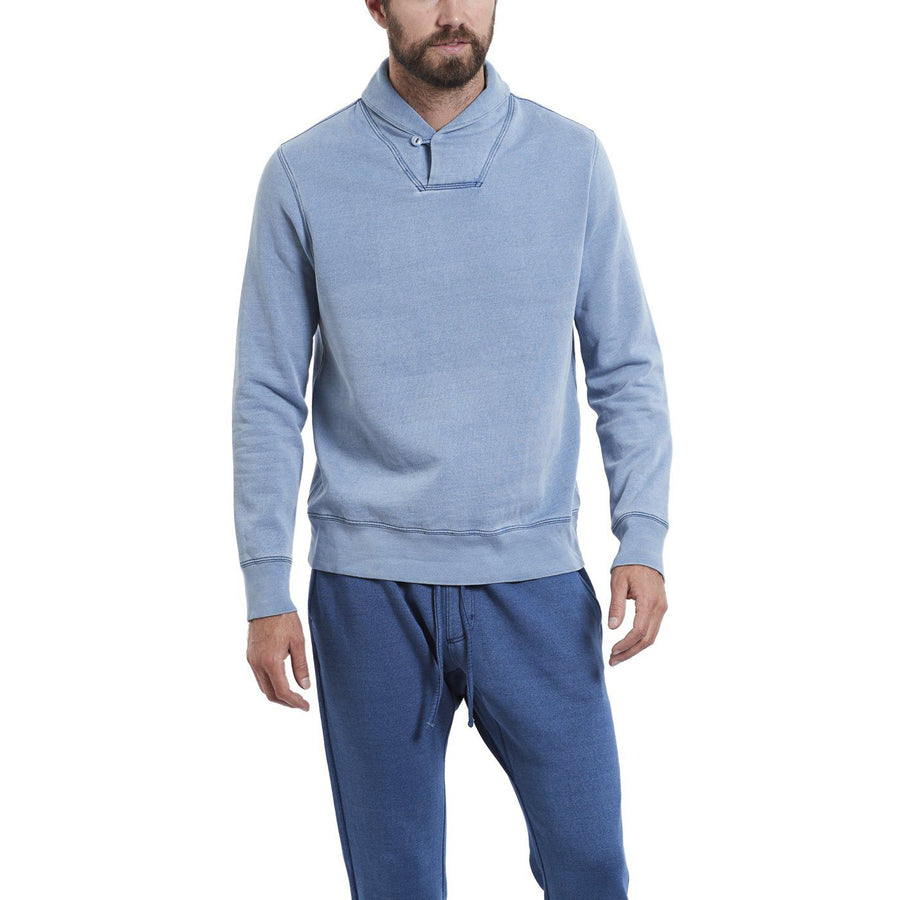 Indigo Fleece Shawl Collar Sweatshirt