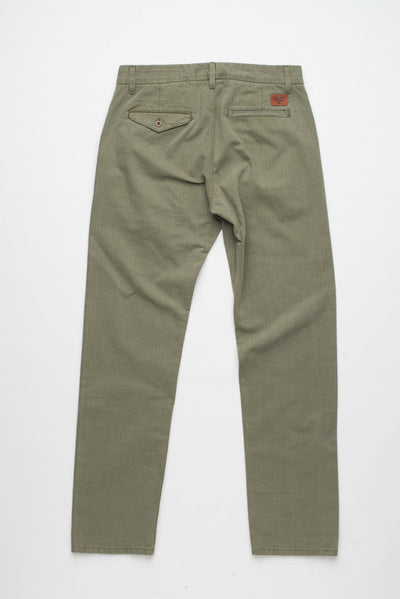 Workers Chino Classic Fit  Olive Herringbone