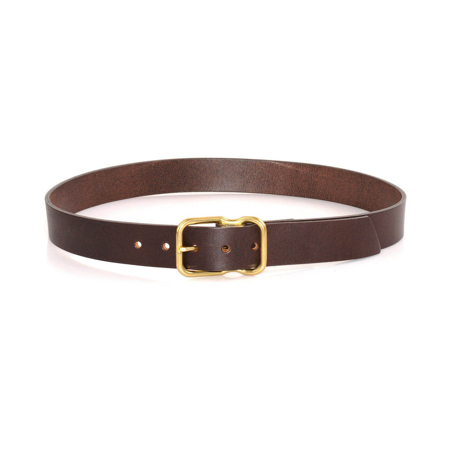 EE Signature Leather Belt - Dark Brown with Solid Brass Buckle