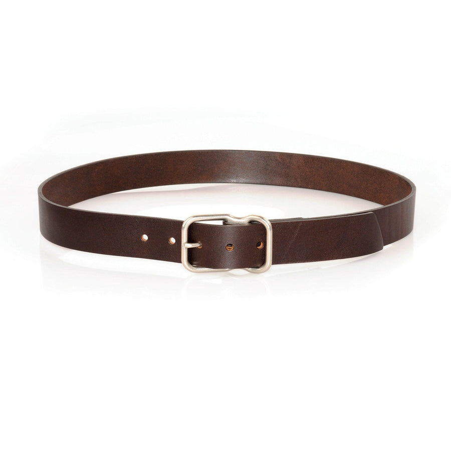 EE Signature Leather Belt - Dark Brown with Brushed Nickel Buckle