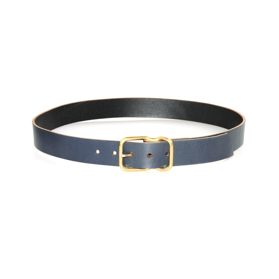 EE Signature Leather Belt - Navy Brass