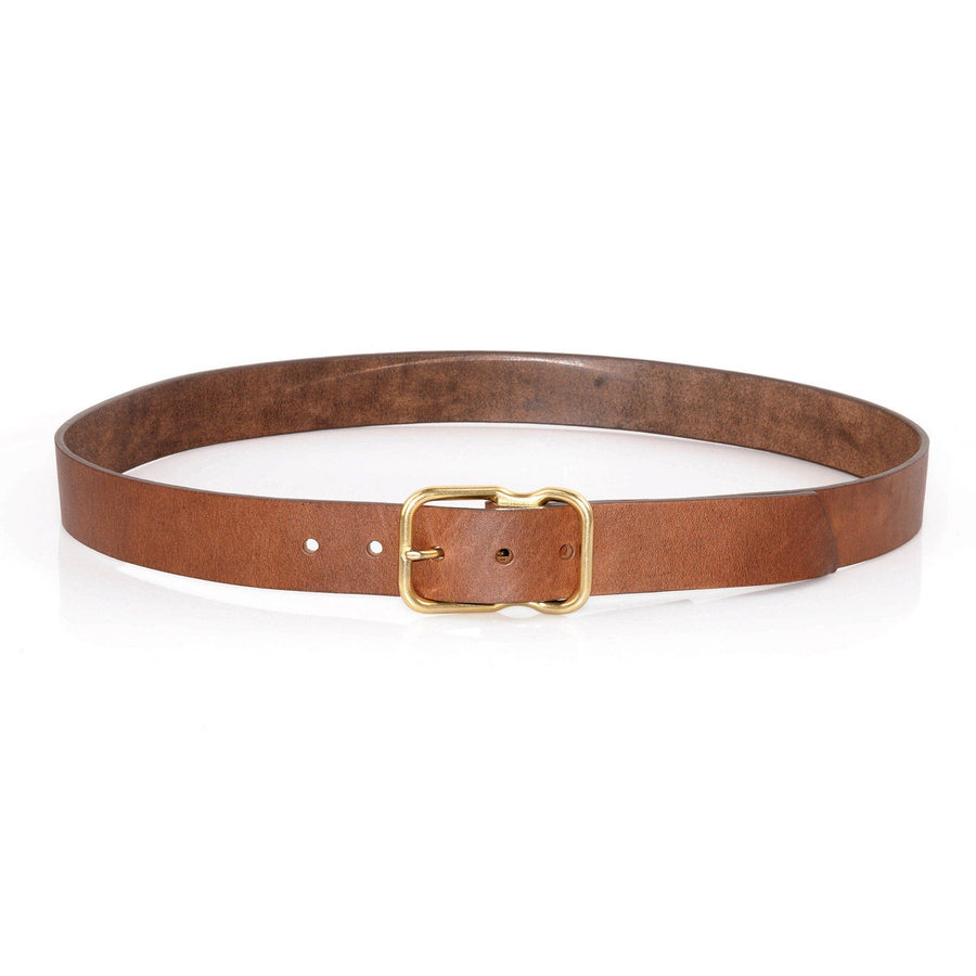EE Signature Leather Belt - Walnut Brass