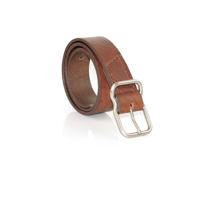 EE Signature Leather Belt - Walnut Brushed Nickel