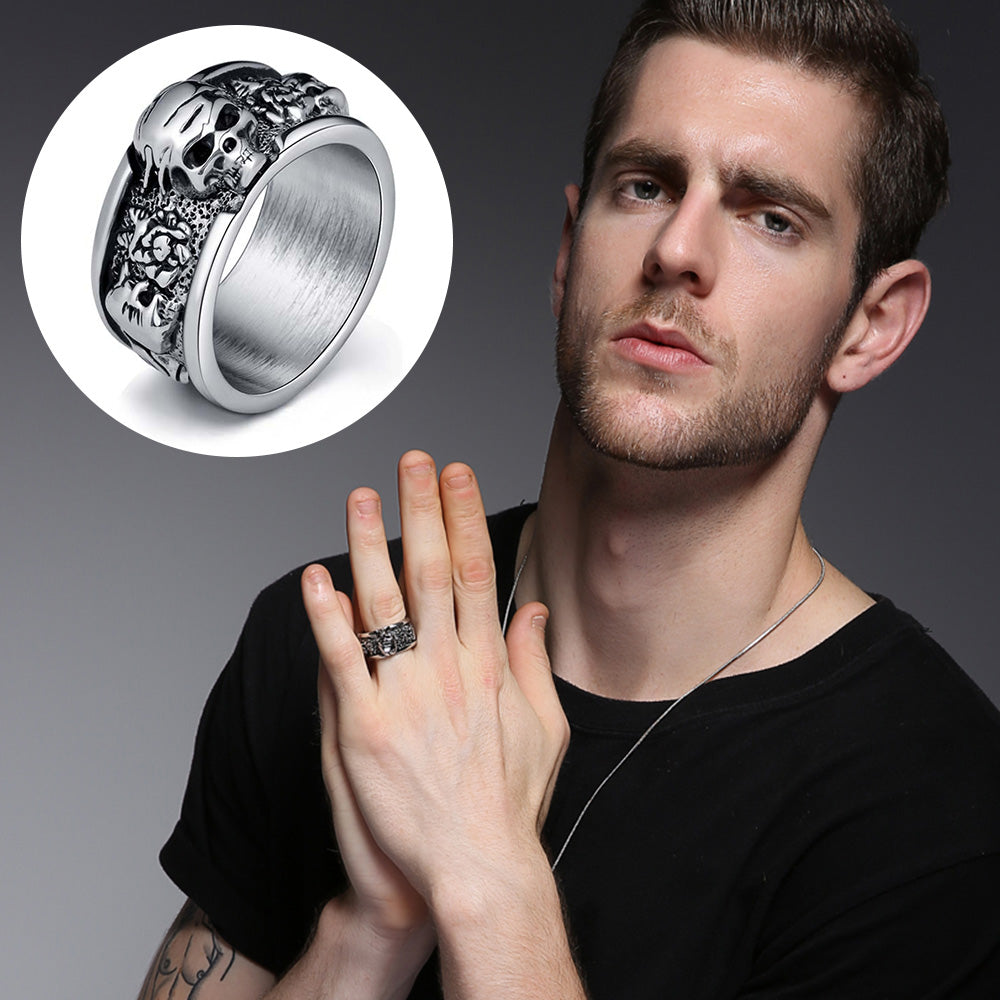 Stainless Steel Rock Roll Kpop Silver Gothic Punk Skull Ring