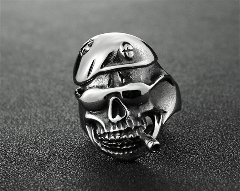 Men's Smoking Silver Skull Ring