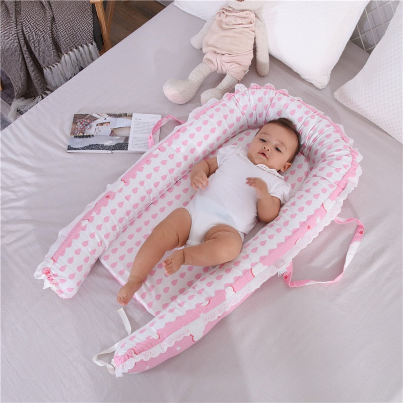 Baby Crib Bed Portable Washable Travel Cotton Bed