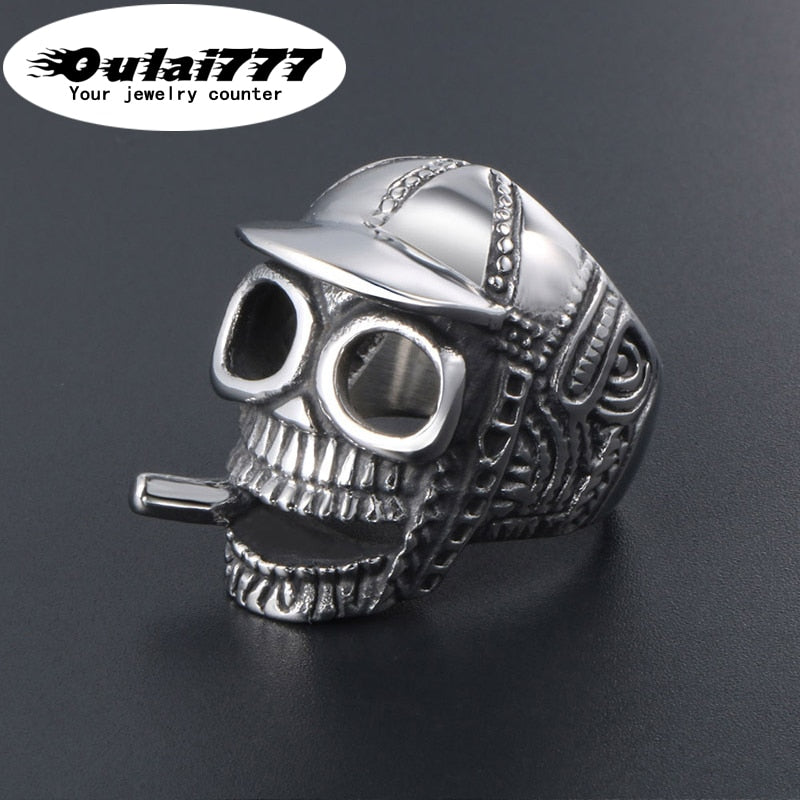 Smoking Skull Ring for Men