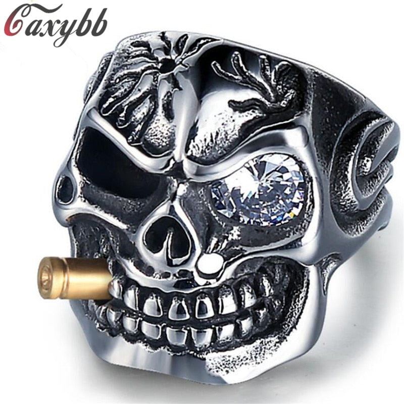 Men's Gold Smoking Pipe Biker Skull Titanium Ring