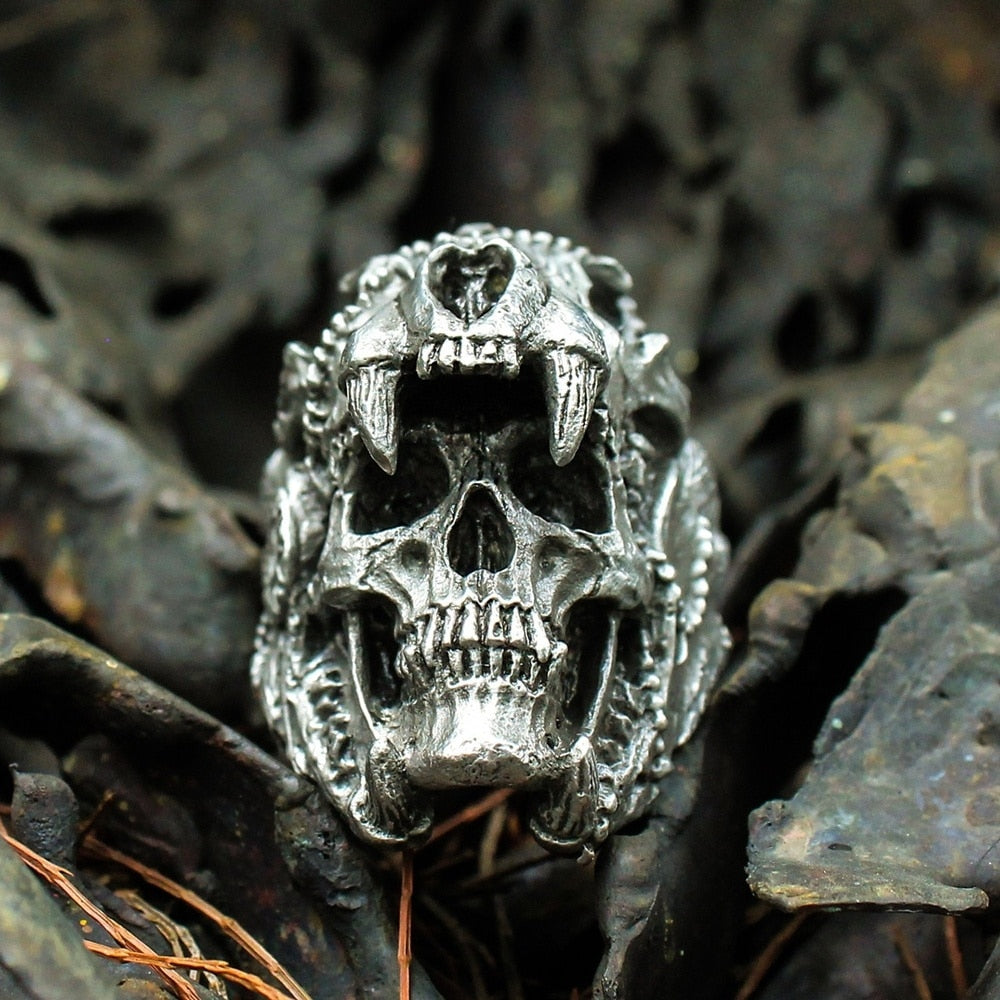 Men's Vintage Indian Jaguar Warrior Skull Punk Ring