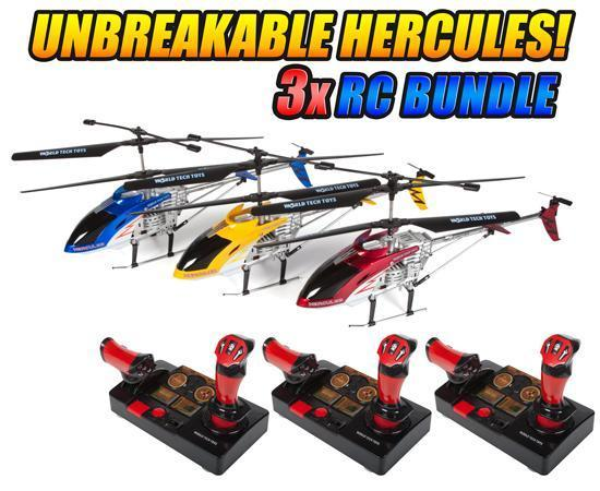 Hercules Unbreakable Helipilot 3.5CH 2.4GHz RC Helicopter 3-Pack Bundle