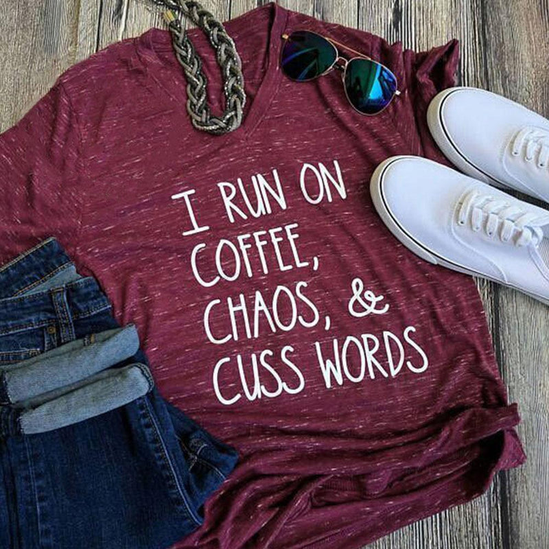 Coffee, Chaos & Cuss Words T-Shirt - comfortake