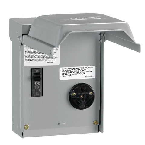 30A Outlet Box, Rain-Proof w/Circuit Breaker