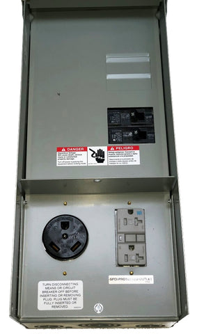 30A/20A Outlet Box, Rain-Proof w/Circuit Breakers