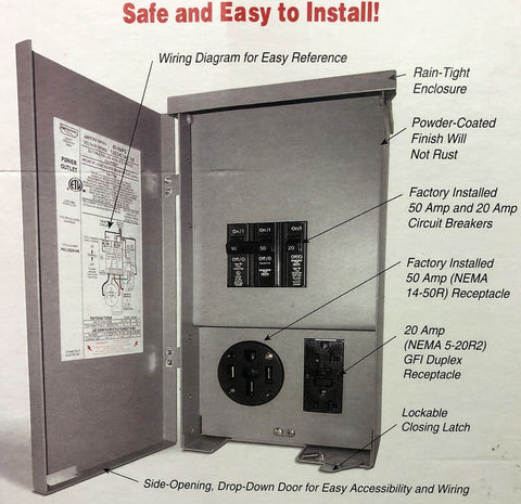 50A/20A Outlet Box, Rain-Proof w/Circuit Breakers – Tyree Parts and ...