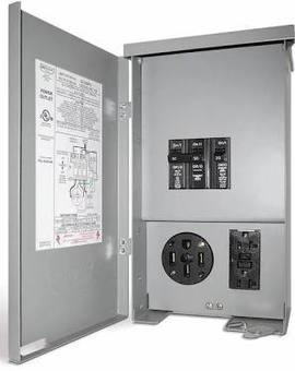 50A/20A Outlet Box, Rain-Proof w/Circuit Breakers