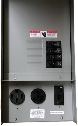 50A/30A/20A Outlet Box, Rain-Proof w/Circuit Breakers