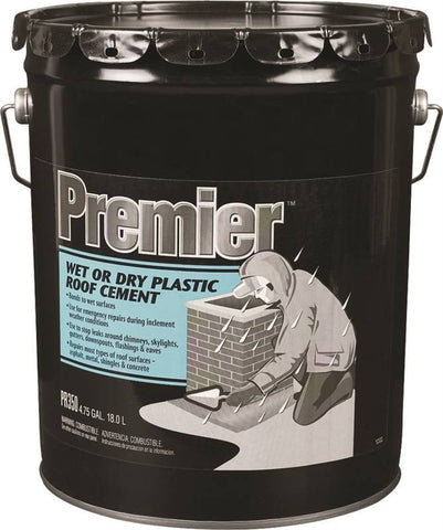 Roof Cement - Plastic - Black, Wet or Dry