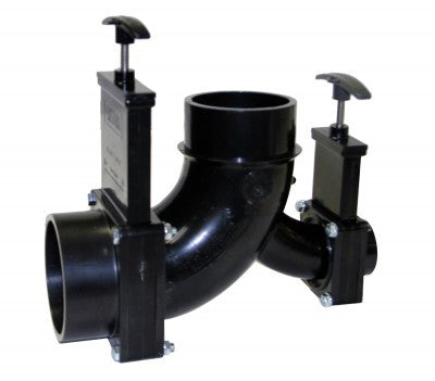 "Waste Valve - Double Elbow - 3"" Hub x 1-1/2"" Hub x 3"" Spigot Outlet"