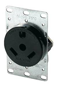 30 Amp Female Flush Receptacle with Plate