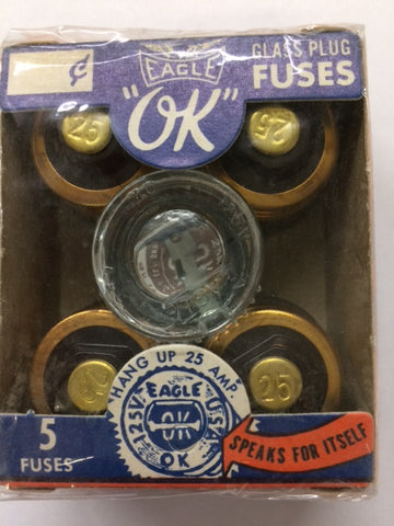 25 Amp, Glass Plug Fuse, Eagle #690, Box of 5