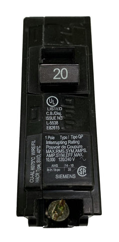 20 Amp Circuit Breaker, Siemens ITE Q120 Type QP, Single Pole